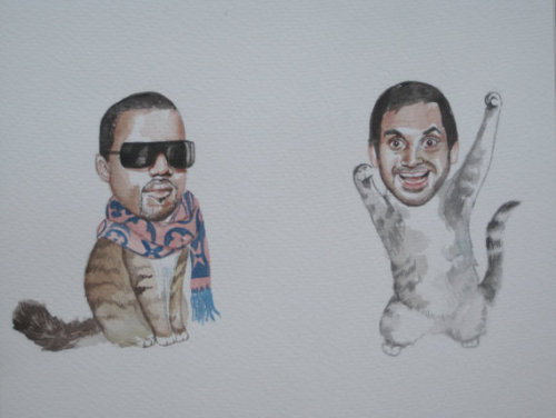"windowsills:  ""Aziz Ansari and Kanye West as best friend cats"" might be the greatest item I've ever seen on etsy."