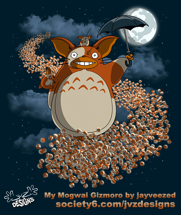 jvzdesigns:  'My Mogwai Gizmoro' by jayveezed Oh for the want of a bigger umbrella… this is the cute bit before everything goes all bitey and scratchy!  Available from these places… JVZ Designs | Redbubble | Society6 Social sites… Facebook | Twitter (@jvzdesigns) | Tumblr | Pinterest