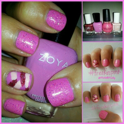 @_hotpinkbandit #freakinpink #zoyanailpolish #juliegnailpolish #sinfulcolors #pink  (Taken with Instagram)