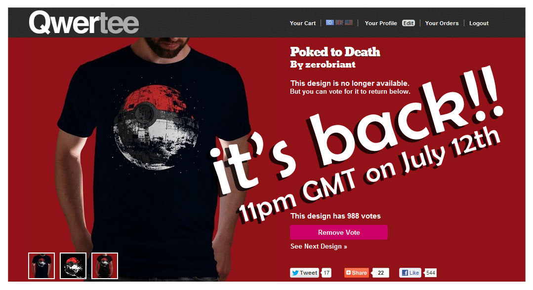 "Due to popular demand we are bringing back the famous ""Poked to Death"" design :) get it at www.qwertee.com 11pm GMT July 12th, 2012 yay! reblog please :)"