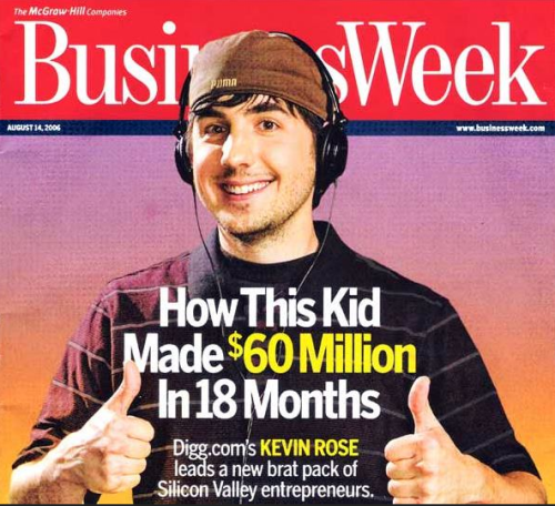 bestrooftalkever:  soupsoup:  Digg sold for just $500,000  Kevin Rose apparently has no idea how to dress for a photo. Also, WTF.   Hey Sheila, have any styling tips for a dude?