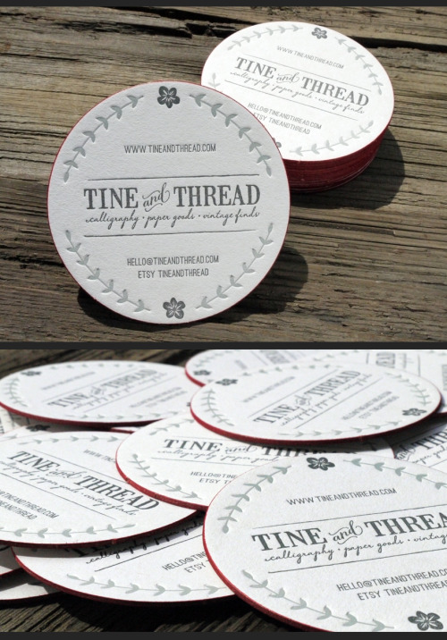 designersof:  2 color letterpress round coaster business card w/ red edge print created by Print&Grain