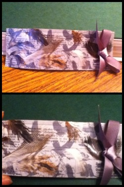 Again, my super creative best friend and her bookmarks. This one is news paper clippings, and feathers.