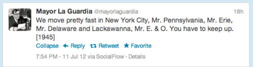 wnyc:  If you are not following Mayor La Guardia on twitter, you just might should. —A.P.  Agreed.