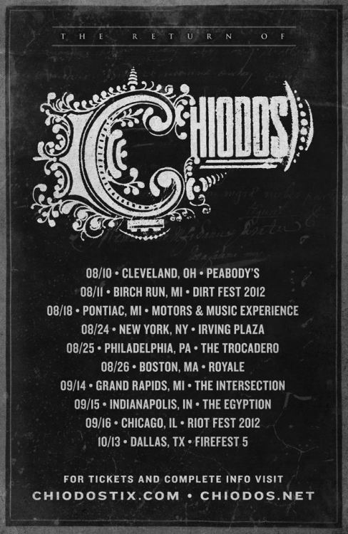 bryanstars:  Chiodos has announced a brand new US reunion tour with support from The Word Alive, Set It Off, Before Their Eyes and A Loss For Words. Check out the dates below! Fri Aug 10 Cleveland, OH Peabody'sSat Aug 11 Birch Run, MI Birch Run Expo CenterSat Aug 18 Pontiac, MI Pontiac SilverdomeFri Aug 24 New York, NY Irving PlazaSat Aug 25 Philadelphia, PA The TrocaderoSun Aug 26 Boston, MA RoyaleFri Sep 14 Grand Rapids, MI The IntersectionSat Sep 15 Indianapolis, IN Murat Egyptian RoomSun Sep 16 Chicago, IL Humboldt ParkSat Oct 13 Dallas, TX The Palladium Ballroom