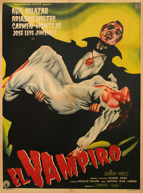 El Vampiro 1957 We're not sure, but we think this poster is advertising a movie about a Vampire. Just a shot in the dark. A sneak peek at an upcoming sale: Monsters & Maidens: A Film Poster Collection, December 18th, 2012