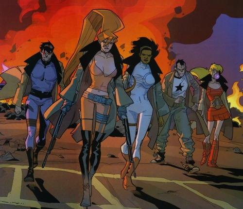 "NEXTWAVE FANCAST! but ramsay.. what is nextwave? glad you asked I'll let warren ellis answer this ""Nextwave consistently features extreme violence and comedy, and simultaneously satirizes and celebrates Marvel's superhero comics. The series frequently uses flashback scenes in which existing Marvel characters such as Captain America, Ulysses Bloodstone and the Celestials act grossly out of character for comedic purposes. In an interview, Ellis said, ""I took The Authority and I stripped out all the plots, logic, character and sanity.""[4] ""It's an absolute distillation of the superhero genre. No plot lines, characters, emotions, nothing whatsoever. It's people posing in the street for no good reason. It is people getting kicked, and then exploding. It is a pure comic book, and I will fight anyone who says otherwise. And afterwards, they will explode.""[5]  Anyway.. here you go  Joel McHale as Aaron Stack (machine man) Wildcard - Jim Carey  Emily Blunt as Elsa Bloodstone. The image of her leaping around while wielding two rifles makes me moist in the pants. Wildcard - Laura Prepon (big ginger from that 70's show)  rutina wesley as monica rambeau Wildcard - Rosario Dawson (Clerks 2)  Malin ackerman as tabitha smith Wildcard - Anna Farris (Scary movie 1-4)  Sam rockwell as The Captain Wildcard - I cannot see anyone but him playing the part  Bruce Campbell as Dirk Anger Wildcard - Neil flynn (janitor in scrubs) There you have it. Discuss oh and if you've never read nextwave then takeacloserlookatthetags yeah carry on"