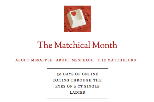 Find me and MssApple on The Matchical Month. This online dating thing is just too hilarious to not be extensively blogged about.