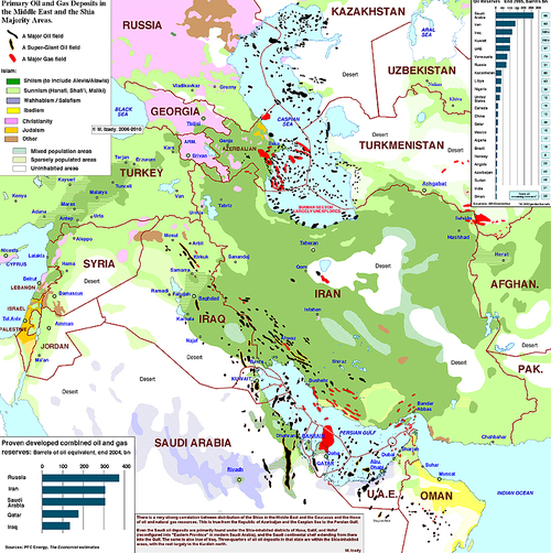Primary Oil and Gas Deposits in the Middle East and the Shia Majority Areas