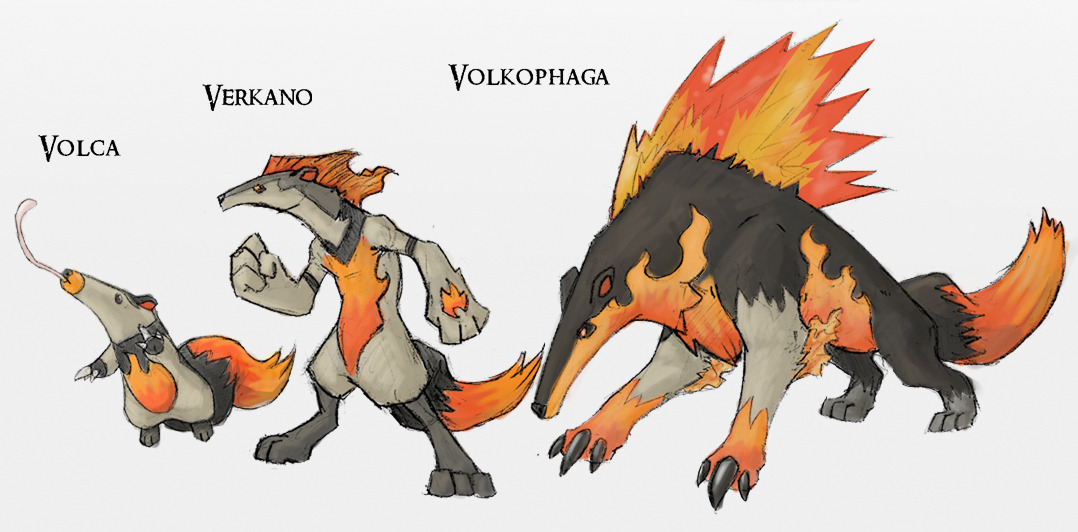 fantasticfakemon:  Awesome anteater fire starters! Volca —> Verkano —> Volkophaga Fire, Fire / Fighting, Fire / Dark Source. By Either-Art