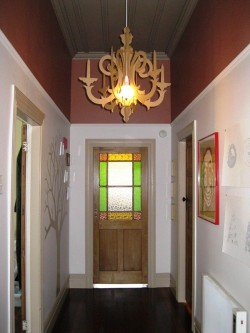 - home - when i bought this house i decided the hallway was worthy of chandeliers. unfortunately the crystal ones are slightly out of my price bracket!! so, i designed and made a much more affordable substitute out of wood :-)
