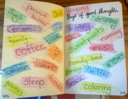 """Page of good thoughts."" These are a few of my favorite things :)"