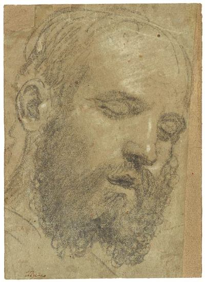 beardbriarandrose:  Paris Bordone, Head of Bearded Sleeping Man, early 1530s