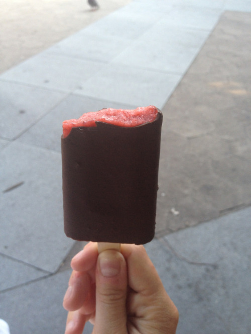 PopBar strawberry sorbet dipped in dark chocolate. West Village NY. Go there
