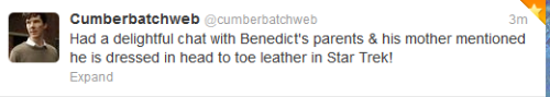 sherlockedwithducky:  Important Benedict Star Trek news because leather  Yes! The images are already filling up my palace ;)
