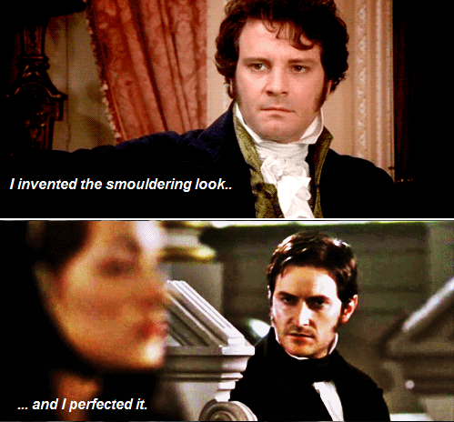 masterpieceofass:   viivanova: Darcy / Thornton Mash-up: The Smouldering Look edition!  woo boys! maybe it would be better if you just took off your shirts and fought it out.  Smelling salts at the ready.