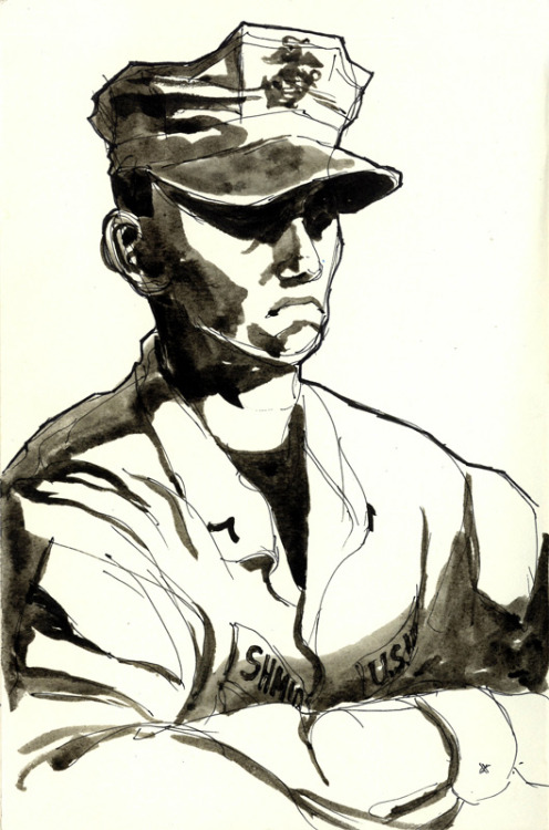 Pfc. Matthew Schmidt, a grunt with 3/25. Ink wash, 2012.
