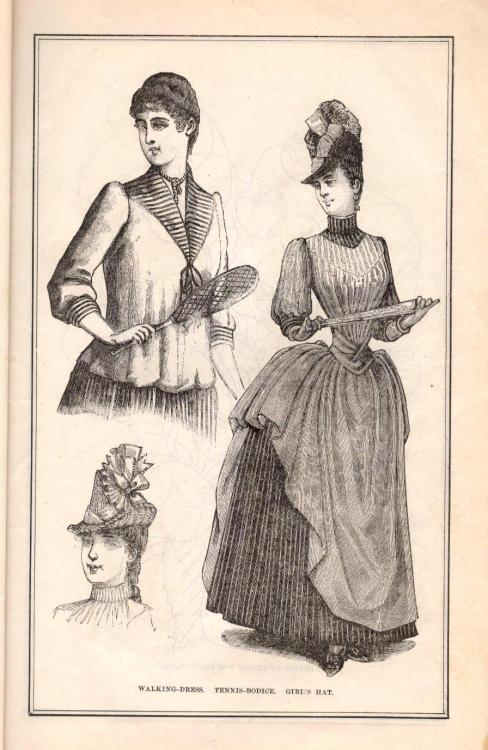 Walking Dress, Tennis Bodice, Girl's Hat from Peterson's July 1888.