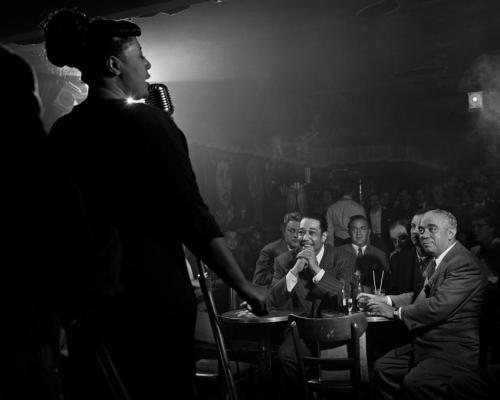 midnightmartinis:  ella fitzgerald, duke ellington, benny goodman, & richard rogers, downbeat, new york, 1949 - by herman leonard
