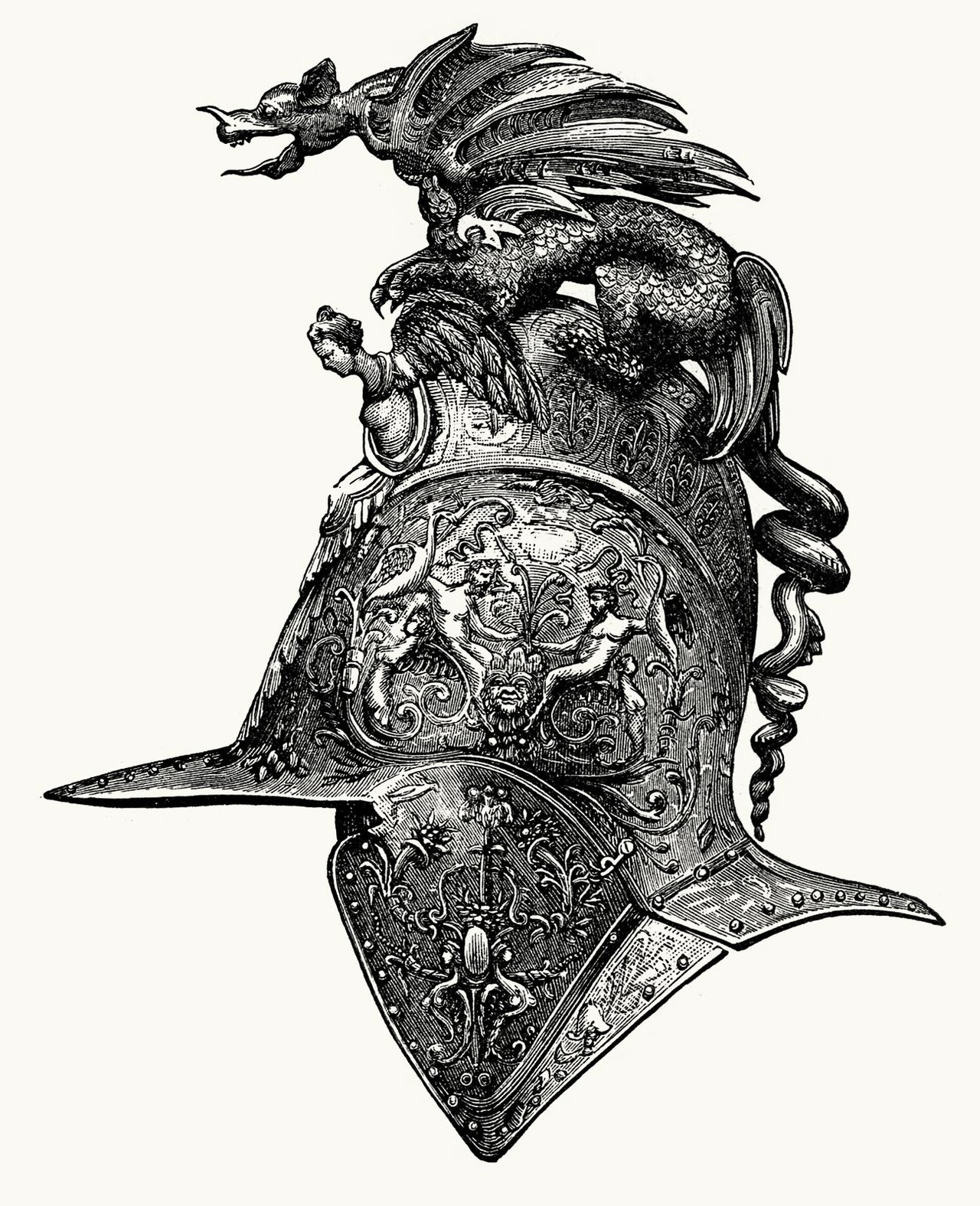 oldbookillustrations:  Helmet (Italian department) From The great Centennial exhibition critically described and illustrated, by Phillip T. Sandhurst, Philadelphia and Chicago, circa 1876. (Source: archive.org)