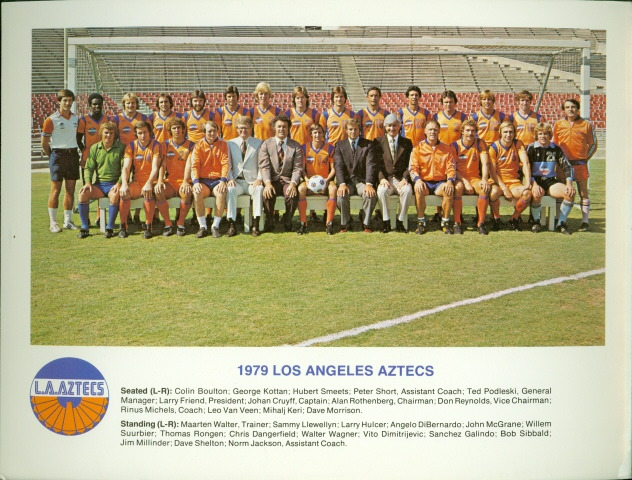 The 1979 Los Angeles Aztecs of the NASL. In the center is captain Johan Cruyff, whose journey to America is told by Leander Schaerlaeckens in issue one of XI.