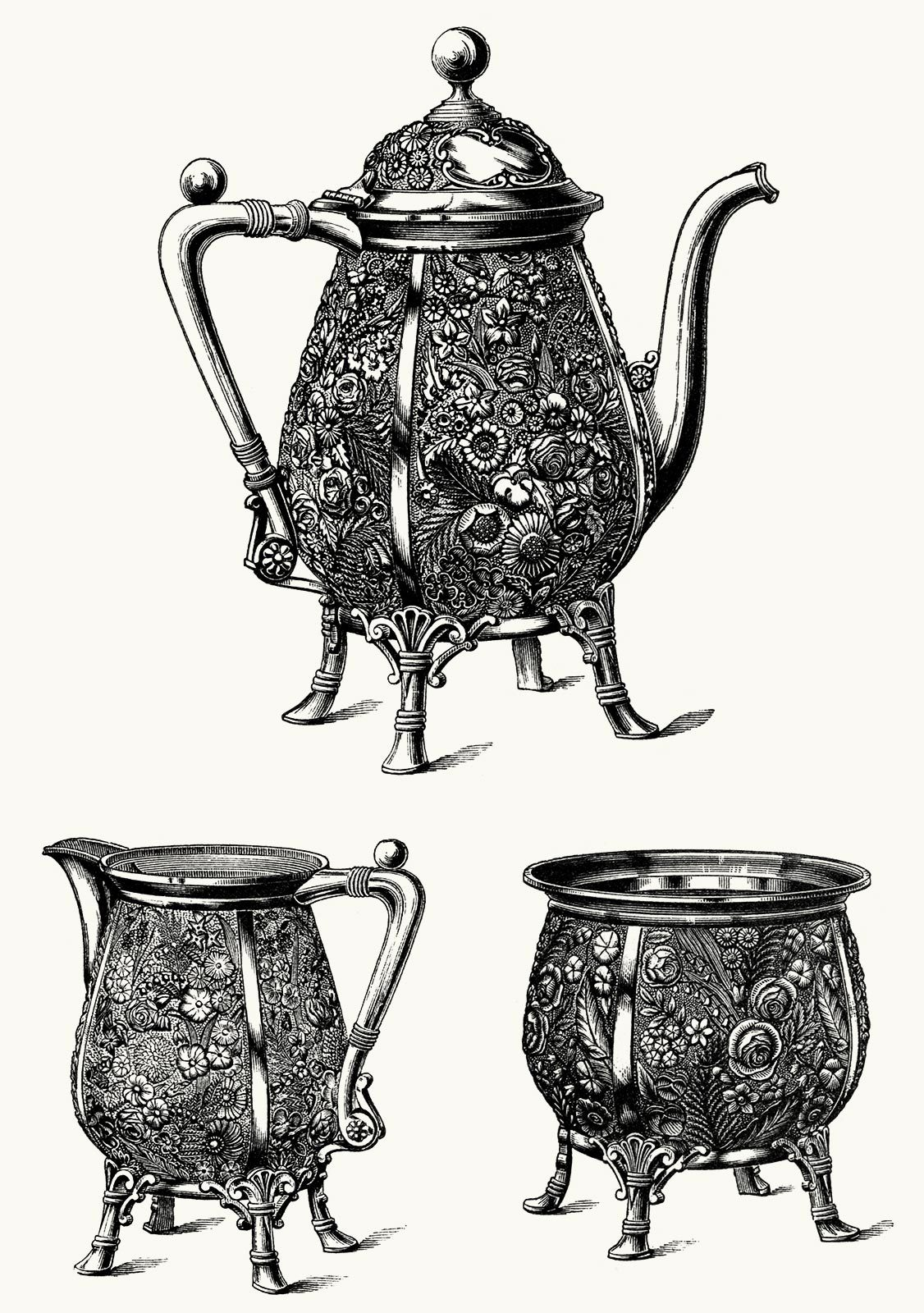 oldbookillustrations:  Pot, pitcher, and bowl - repoussé silver. From The great Centennial exhibition critically described and illustrated, by Phillip T. Sandhurst, Philadelphia and Chicago, circa 1876. (Source: archive.org)