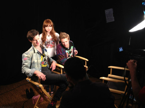 Matt, Karen, and Arthur shooting an interview at the Wired Cafe today.