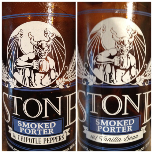 "Stone - Smoked Porter ""Pepsi Challenge""  Chipotle vs. Vanilla Bean  I'm only going to reference the characteristics from the added ingredients and their contribution to the base beer. If you've never had the standard Stone Smoked Porter do yourself a favor and get up on that.   First up is Chipotle: Holy crap this might be the best chili beer in existence! The spicy chipotle flavor is the perfect counterpart to this heavily peat smoke flavored porter. As far as heat goes it only has a slight tingle with every sip and a mild warmth that builds up in the throat. Great beer.   Next is the Vanilla Bean: Wow! This is like a completely different beer. The vanilla aroma covers the smokiness and brings out a lot of nice chocolatey notes. And it tastes exactly like it smells! This beer is fantastic."