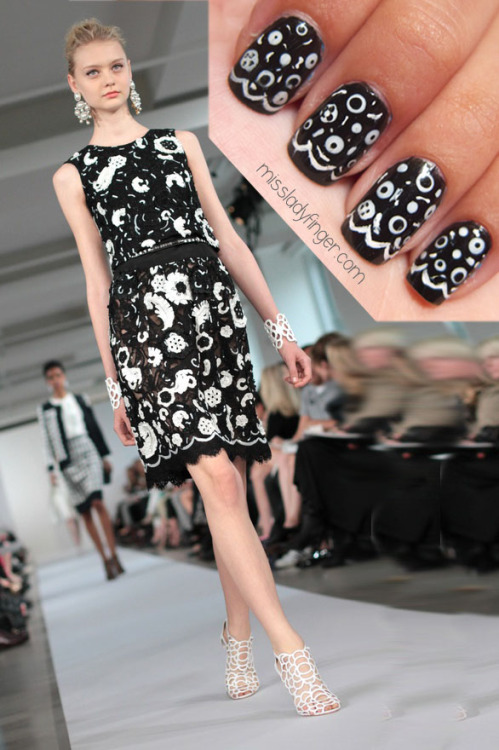 "MANICURE MUSE: Oscar de la Renta Resort '13 Oscar de la Renta's efforts to lure in a younger consumer is not going unnoticed. Aside from the huge social media presence (courtesy of the super chic Erika Bearman of the @OscarPRGirl). ODLR extended the effort in his Resort '13 collection. Youthful touches are infused by way of a sequined baseball tee (styled with a gingham skirt) and streaks of neon in the models' hair, something we've rarely seen from him. But as the saying goes ""if it ain't broke, don't fix it."" True to the Oscar form is the array of ladylike party frocks with a plethora of embellishment and appliqué. It's an Oscar staple for sure, but in this collection there's a youthful twist. Have fun translating this look into chic ladyfingers with the same controlled chaos of black and white embellishment.  To emulate this look, I used Onyx Rush by Maybelline's Color Show, Floral Street by Nails Inc, a nail art brush, and a dotter tool. To get these ladyfingers: 1. Paint your full nail black 2. Using a nail art brush, paint white connecting half circles to create the scallops slightly above the tip of the nail 3. Create large dots with your dotter tool (or bobby pin) 4. Play around with dotting black within the circles— make smaller dots with a tooth pick 5. Using a slight amount of polish on your nail art brush, jot little lines of white 6. Top it off with Seche Vite's Fast Dry Top Coat (Photo: Greyest Ghost for Oscar de la Renta)"