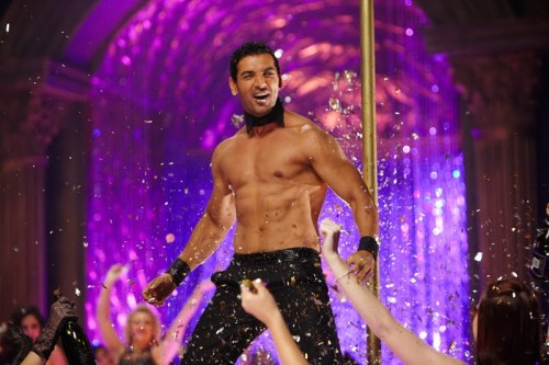 John Abraham looks like he is in the Bollywood version of Magic Mike, seriously (pic is from Desi Boyz)