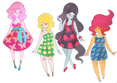 Adventure Time girls in dresses~! Haven't drawn them in a while. Ahh, I wish I could go to the panel at SDCC. So close and yet so far. I really want to get my hands on the exclusive USB and sweater for Adventure Time, but I doubt there will still be some by Sunday. But I'm happy to have the opportunity to go.
