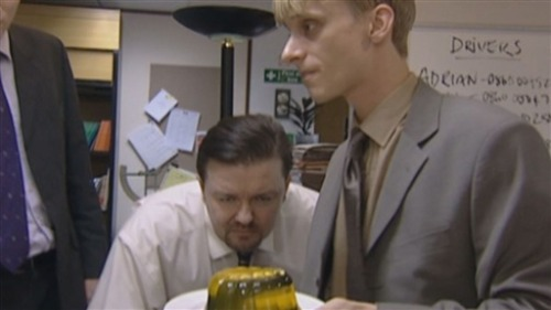 nellyis38:  Gareth:  He's put my stapler inside a jelly again. That's the third time he's done that. It wasn't even funny the first time.David: Why's he done that?Gareth: I told him once that I don't like jelly. I don't trust the way it moves.