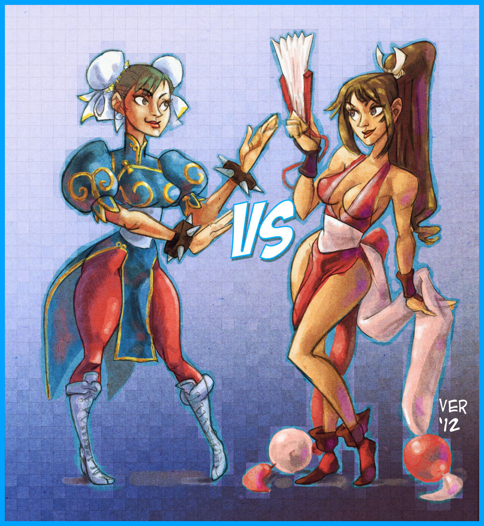 Chun Li vs Mai Shiranrui inspired by the art of Justin and Camilla. They draw such beautiful strong women with these statue like poses. So this is my attempt at it.