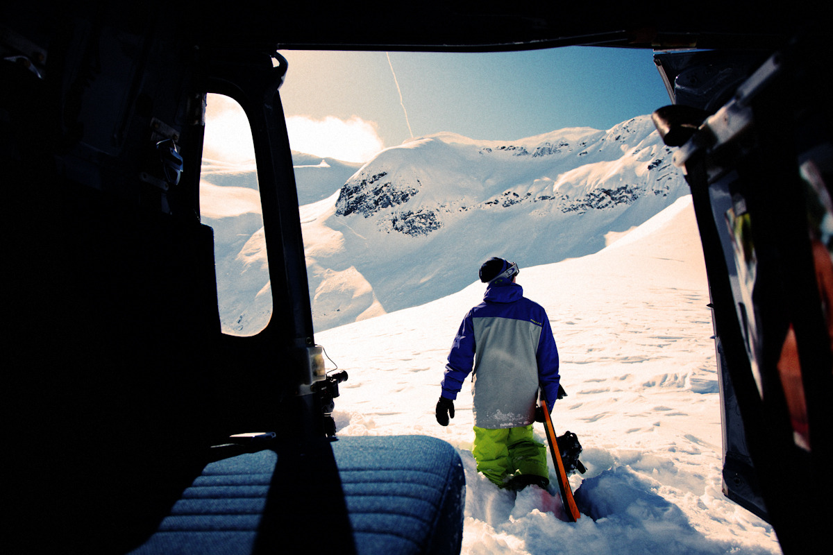 A pull from a Oakley job this winter- Jake Blauvelt steps out into his office for the day in the Whistler backcountry, BC.  You can scope from the bird well, but nothing beats from the ground. Photo: Cole Barash