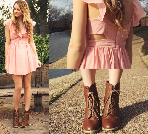 BLUSH CHIFFON DRESS, nastygal BROWN LACE UP BOOT HEELS