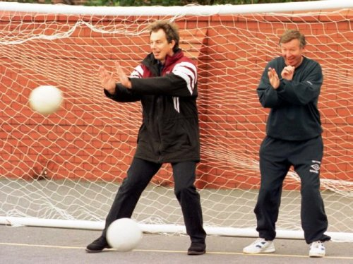 """Don't worry Alex Ferguson, I Tony Blair shall protect you from those footballs"""