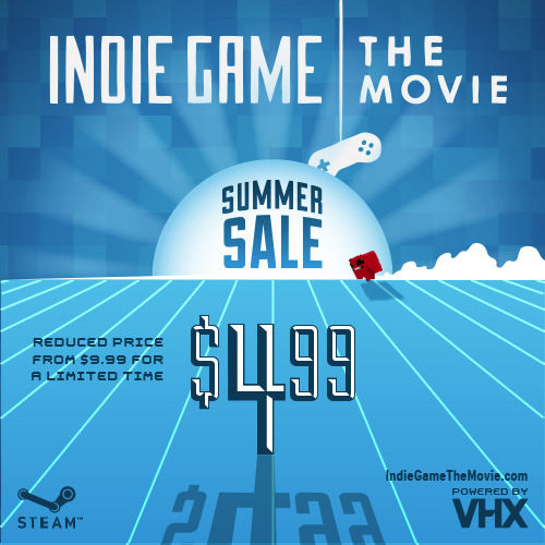 videogamenostalgia:  Indie Game: The Movie is only $4.99 now on Steam (and all other sites its sold on) If you haven't seen it, I can personally say it's my favorite documentary. I've watched it more times than I can count, and it's extremely inspirational if you're interested in getting into the game dev world. via edmundmcmillen