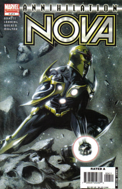 Annihilation: Nova #4, September 2006, written by Dan Abnett and Andy Lanning, penciled by Kev Walker