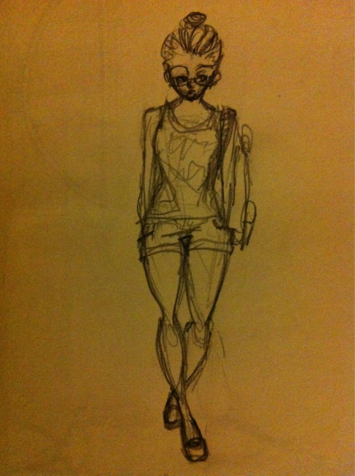 I drew my outfit on the day I was in my business casual brown pumps with my fave jean shorts and dusty black tanktip with a red back pack… I drew myself to see how I looked. It helped put some strut in my step lol I was cute that day! And eclectically-tomboyishly-ladylike lol I enjoyed myself. I looked cool. :)