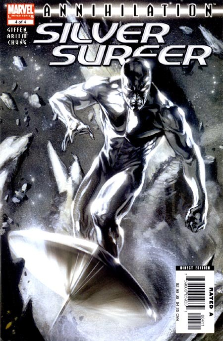 Annihilation: Silver Surfer #4, September 2006, written by Keith Giffen, penciled by Renato Arlem