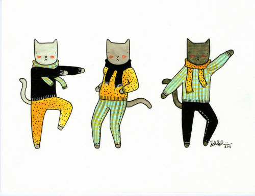 "blessings-and-honour:  ""Cats Get Down In Scarves"" By Darla Okada"