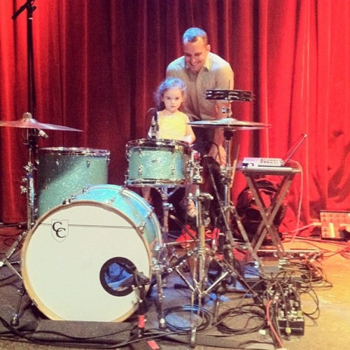 mutemath:  Free drum lessons if you are adorable. I got to see my best friend from school and meet his beautiful daughter today. -dk (Taken with Instagram)