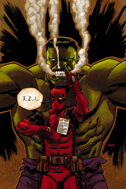 comicsforever:  Deadpool & Hulk: Last Will // artwork by Dave Johnson (2012)