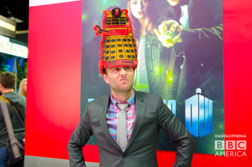 Chris Hardwick wears a Dalek hat now. Dalek hats are cool. Our siblings over at Anglophenia have a photo gallery of even more Whovians in Dalek hats including our favorite celebrity Whovian, Chris Hardwick. Go check out the rest over at BBCAmerica.com