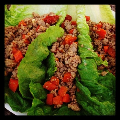 Ground Turkey Lettuce Wraps by Happy Healthy Hippie friend and follower, Kristine Mamora (via Instagram as k121571173)   @happyhealthyhippie - it's the only pic I have… I remember you posted something similar some time ago… I've been doing this since I met Alvin and he wrapped Vietnamese egg rolls in the lettuce it comes with lol. Anyway I just make it simple, I made use of the veggies I have at home, pickled garlic, grape tomatoes and carrots, sea salt, pepper and mushroom seasoning.. 😄   Get inspired to make your dinner tonight! THANK YOU for sharing, Kristine. Sharing is caring!