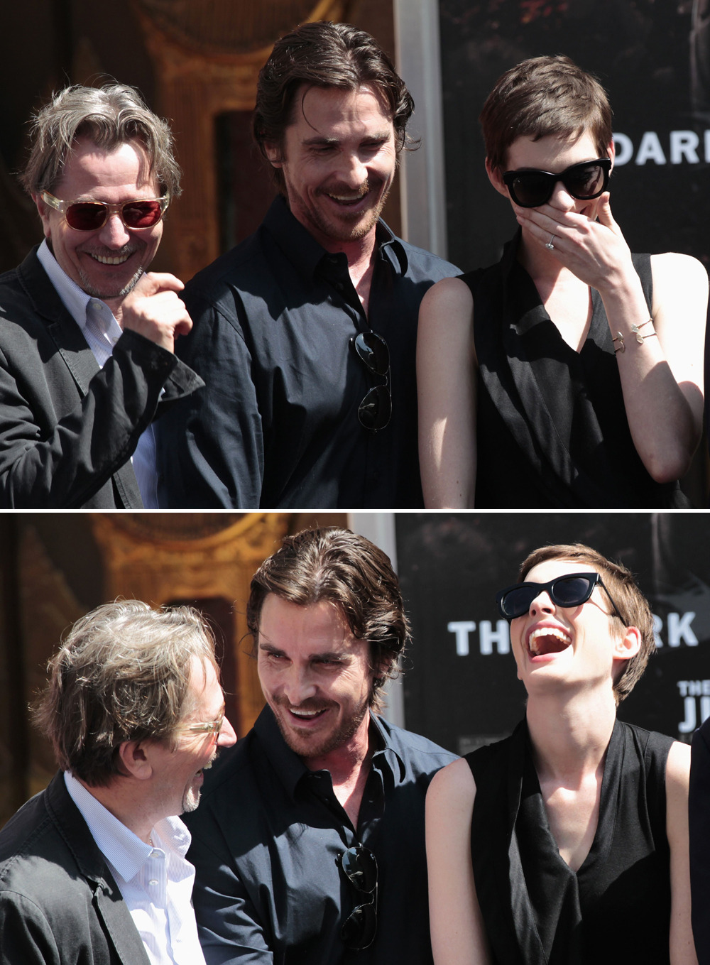 bohemea:  Gary Oldman, Christian Bale & Anne Hathaway at Christopher Nolan's hand print ceremony, July 7th 2012 WHAT'RE YOU GUYS LAUGHING AT? TELL ME!