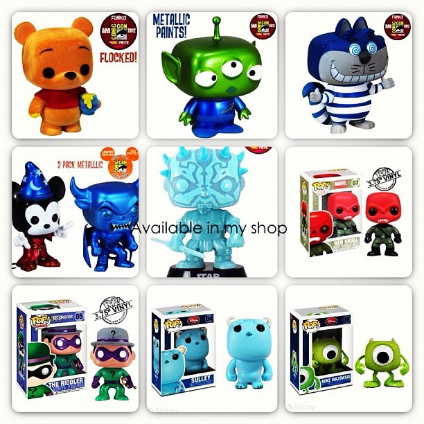 Some of the #Funko items that will be available in my shop. #Marvel #Starwars #Disney #Popwars #Funkopop #Funkofamily #Follow4Funko #Toys #Collectibles #Comiccon2012 #Comiccon #figurines #Comics #Avengers  (Taken with Instagram)