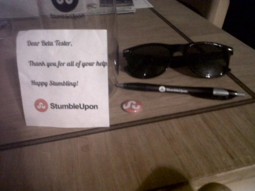 Hey check out what StumbleUpon sent me in the mail guys! :D