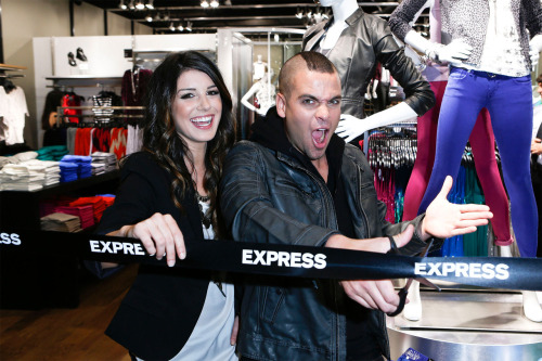 fyeahgleeclub:  Glee's Mark Salling and 90210's Shenae Grimes celebrate the grand opening of the EXPRESS store at Pacific Centre in Vancouver, BC