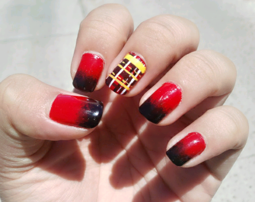 hailstothenails:  Tartan and gradient nails